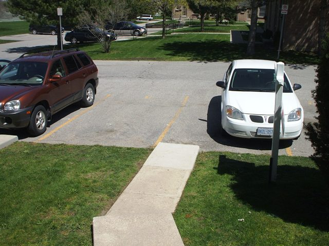 2 parking spots out front