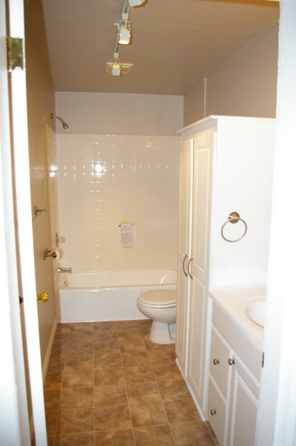 Updated bath on main with linen closet