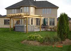 Rear yard has 2 pergolas